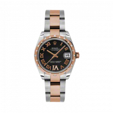New Rolex Mens New Style Midsize Datejust Watch - Two Tone Rose Gold Black Diamond Dial - Domed Bezel with 24 Diamonds - Oyster Bracelet 31 MM 178341