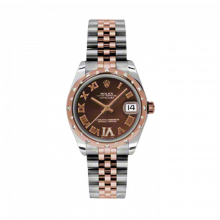 New Rolex Mens New Style Midsize Datejust Watch - Two Tone Rose Gold Chocolate Diamond/Roman Dial - Domed Bezel with 24 Diamonds - Jubilee Bracelet 31 MM 178341