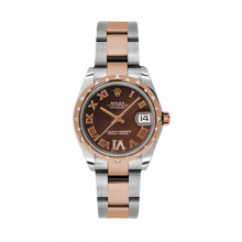 New Rolex Mens New Style Midsize Datejust Watch - Two Tone Rose Gold Chocolate Diamond/Roman Dial - Domed Bezel with 24 Diamonds - Oyster Bracelet 31 MM 178341