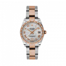 New Rolex Mens New Style Midsize Datejust Watch - Two Tone Rose Gold Mother of Pearl Diamond Dial - Domed Bezel with 24 Diamonds - Oyster Bracelet 31 MM 178341