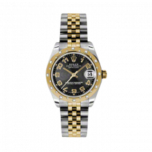 New Rolex Mens New Style Midsize Datejust Watch - Two Tone Yellow Gold Black Concentric Arabic Dial - 18K Domed Bezel w/ Diamonds - Jubilee Bracelet 31 MM 178343