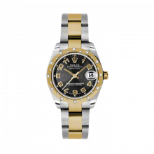 New Rolex Mens New Style Midsize Datejust Watch - Two Tone Yellow Gold Black Concentric Arabic Dial - 18K Domed Bezel w/ Diamonds - Oyster Bracelet 31 MM 178343