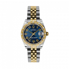 New Rolex Mens New Style Midsize Datejust Watch - Two Tone Yellow Gold Blue Concentric Arabic Dial - 18K Domed Bezel w/ Diamonds - Jubilee Bracelet 31 MM 178343