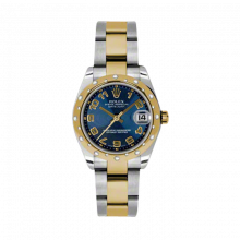New Rolex Mens New Style Midsize Datejust Watch - Two Tone Yellow Gold Blue Concentric Arabic Dial - 18K Domed Bezel w/ Diamonds - Oyster Bracelet 31 MM 178343