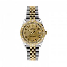 New Rolex Mens New Style Midsize Datejust Watch - Two Tone Yellow Gold Champagne Concentric Arabic Dial - 18K Domed Bezel w/ Diamonds - Jubilee Bracelet 31 MM 178343
