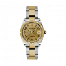 New Rolex Mens New Style Midsize Datejust Watch - Two Tone Yellow Gold Champagne Concentric Arabic Dial - 18K Domed Bezel w/ Diamonds - Oyster Bracelet 31 MM 178343