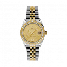 New Rolex Mens New Style Midsize Datejust Watch - Two Tone Yellow Gold Champagne Flower Dial - 18K Domed Bezel w/ Diamonds - Jubilee Bracelet 31 MM 178343