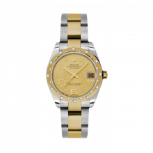 New Rolex Mens New Style Midsize Datejust Watch - Two Tone Yellow Gold Champagne Flower Dial - 18K Domed Bezel w/ Diamonds - Oyster Bracelet 31 MM 178343