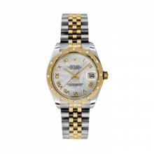 New Rolex Mens New Style Midsize Datejust Watch - Two Tone Yellow Gold Mother of Pearl Roman Dial - 18K Domed Bezel w/ Diamonds - Jubilee Bracelet 31 MM 178343