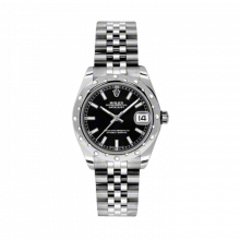 New Rolex New Style Midsize Datejust Watch - Stainless Steel Black Index Dial - Domed Bezel with Diamonds- Jubilee Bracelet 31 MM 178344