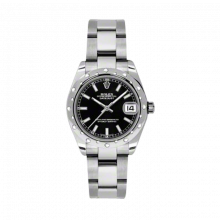New Rolex New Style Midsize Datejust Watch - Stainless Steel Black Index Dial - Domed Bezel with Diamonds- Oyster Bracelet 31 MM 178344
