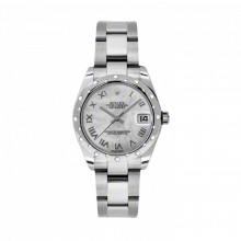 New Rolex New Style Midsize Datejust Watch - Stainless Steel Mother of Pearl Roman Dial - Domed Bezel with Diamonds- Oyster Bracelet 31 MM 178344