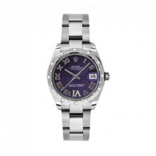 New Rolex New Style Midsize Datejust Watch - Stainless Steel Purple Diamond/Roman Dial - Domed Bezel with Diamonds- Oyster Bracelet 31 MM 178344
