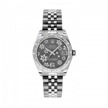 New Rolex New Style Midsize Datejust Watch - Stainless Steel Rhodium Floral Dial - Domed Bezel with Diamonds- Jubilee Bracelet 31 MM 178344