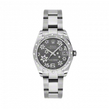 New Rolex New Style Midsize Datejust Watch - Stainless Steel Rhodium Floral Dial - Domed Bezel with Diamonds- Oyster Bracelet 31 MM 178344