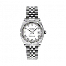 New Rolex New Style Midsize Datejust Watch - Stainless Steel White Roman Dial - Domed Bezel with Diamonds- Jubilee Bracelet 31 MM 178344