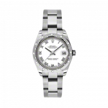 New Rolex New Style Midsize Datejust Watch - Stainless Steel White Roman Dial - Domed Bezel with Diamonds- Oyster Bracelet 31 MM 178344