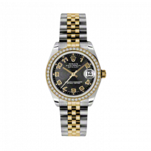 New Rolex Mens New Style Midsize Datejust Watch - Two Tone Yellow Gold Black Concentric Arabic Dial - Diamond Bezel - Jubilee Bracelet 31 MM 178383