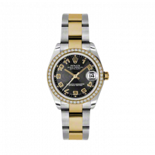 New Rolex Mens New Style Midsize Datejust Watch - Two Tone Yellow Gold Black Concentric Arabic Dial - Diamond Bezel - Oyster Bracelet 31 MM 178383