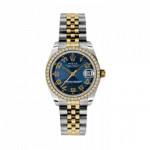 New Rolex Mens New Style Midsize Datejust Watch - Two Tone Yellow Gold Blue Concentric Arabic Dial - Diamond Bezel - Jubilee Bracelet 31 MM 178383