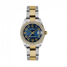 New Rolex Mens New Style Midsize Datejust Watch - Two Tone Yellow Gold Blue Concentric Arabic Dial - Diamond Bezel - Oyster Bracelet 31 MM 178383