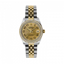 New Rolex Mens New Style Midsize Datejust Watch - Two Tone Yellow Gold Champagne Concentric Arabic Dial - Diamond Bezel - Jubilee Bracelet 31 MM 178383
