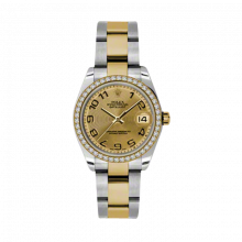 New Rolex Mens New Style Midsize Datejust Watch - Two Tone Yellow Gold Champagne Concentric Arabic Dial - Diamond Bezel - Oyster Bracelet 31 MM 178383