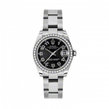 New Rolex New Style Midsize Datejust Watch - Stainless Steel Black Concentric Arabic Dial - 18K Diamond Bezel - Oyster Bracelet 31 MM 178384