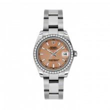 New Rolex New Style Midsize Datejust Watch - Stainless Steel Pink Index Dial - 18K Diamond Bezel - Oyster Bracelet 31 MM 178384
