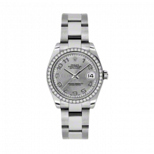 New Rolex New Style Midsize Datejust Watch - Stainless Steel Silver Concentric Arabic Dial - 18K Diamond Bezel - Oyster Bracelet 31 MM 178384