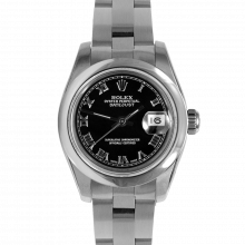 Pre-owned Rolex New Style Ladies Datejust Watch - Stainless Steel Black Roman Dial & Smooth Bezel On An Oyster Band