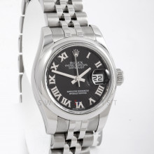 Rolex 179160 Ladies Datejust 26mm Stainless Steel w/ Black Sun Beam Roman Dial and Smooth Bezel with Jubilee Bracelet - Pre-Owned