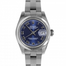 Pre-owned Rolex New Style Ladies Datejust Watch - Stainless Steel Blue Roman Dial & Smooth Bezel On An Oyster Band 179160 Model