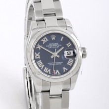 Rolex 179160 Ladies Datejust 26mm Stainless Steel w/ Blue Roman Dial and Smooth Bezel with Jubilee Bracelet - Pre-Owned w/ Box & Card