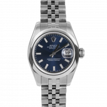 Pre-owned Rolex New Style Ladies Datejust Watch - Stainless Steel Blue Stick Dial & Smooth Bezel On A Jubilee Band