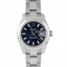 Pre-owned Rolex New Style Ladies Datejust Watch - Stainless Steel Blue Stick Dial & Smooth Bezel On An Oyster Band
