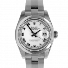 Pre-owned Rolex New Style Ladies Datejust Watch - Stainless Steel White Roman Dial & Smooth Bezel On An Oyster Band