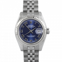 Rolex Ladies Datejust 179174 - Stainless Steel - Blue Roman Dial - Fluted Bezel On A Jubilee Band - Pre-owned