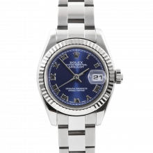 Rolex Ladies Datejust 179174 - Stainless Steel - Blue Roman Dial - Fluted Bezel On An Oyster Band - Pre-owned