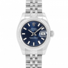Rolex Ladies Datejust 179174 - Stainless Steel - Blue Stick Dial - Fluted Bezel On A Jubilee Band - Pre-owned