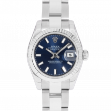Rolex Ladies Datejust 179174 - Stainless Steel - Blue Stick Dial - Fluted Bezel On An Oyster Band - Pre-owned