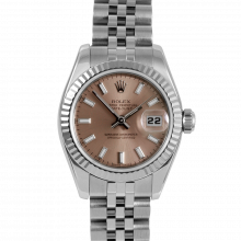 Rolex Ladies Datejust 179174 - Stainless Steel - Salmon Stick Dial - Fluted Bezel On A Jubilee Band - Pre-owned