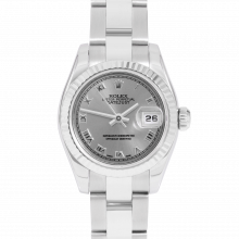 Rolex Ladies Datejust 179174 - Stainless Steel - Slate Roman Dial - Fluted Bezel On An Oyster Band - Pre-owned