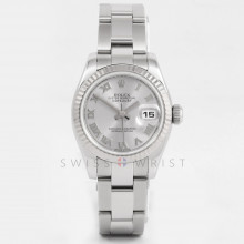 Rolex Datejust 26mm 179174 White Gold & Stainless Steel w/ Silver Roman Dial & Fluted Bezel with Oyster Bracelet - Ladies Pre-Owned Watch