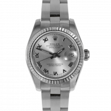 Rolex Ladies Datejust 179174 - Stainless Steel - Silver Roman Numeral Dial - Fluted Bezel On A Oyster Band - Pre-owned