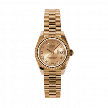 New Rolex Ladies New Style Datejust Watch - Rose Gold President Pink Champagne Roman Dial - 18K Fluted Bezel - Presidential Bracelet 26 MM 179175