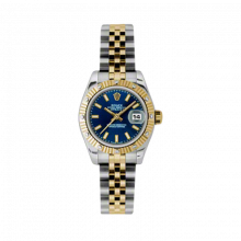 New Rolex Ladies New Style Datejust Watch - 18K Two Tone Yellow Gold  Blue Index Dial - 12 Diamond Fluted Bezel - Jubilee Bracelet 26 MM 179313