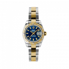 New Rolex Ladies New Style Datejust Watch - 18K Two Tone Yellow Gold  Blue Index Dial - 12 Diamond Fluted Bezel - Oyster Bracelet 26 MM 179313