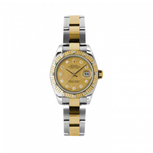 New Rolex Ladies New Style Datejust Watch - 18K Two Tone Yellow Gold  Goldust Mother of Pearl Diamond Dial - 12 Diamond Fluted Bezel - Oyster Bracelet 26 MM 179313