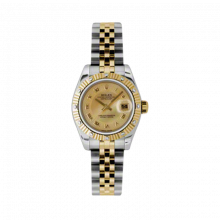 New Rolex Ladies New Style Datejust Watch - 18K Two Tone Yellow Gold  Champagne Mother of Pearl Roman Dial - 12 Diamond Fluted Bezel - Jubilee Bracelet 26 MM 179313